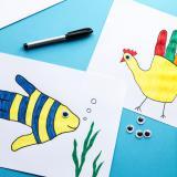 Pictura în contur și animăluțele handprint