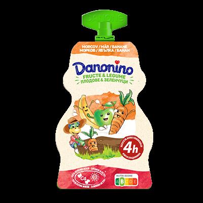 Danonino Iaurt cu piure de banane, mere și morcovi