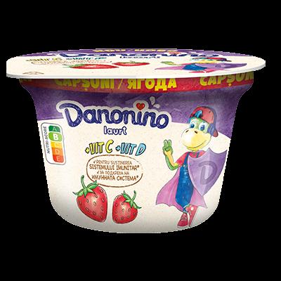 Danonino iaurt cu piure de căpșuni, 3% grăsime
