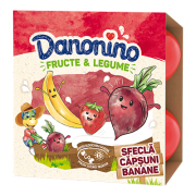 Danonino brânzică de vaci cu piure de banane, căpșuni și sfeclă roșie